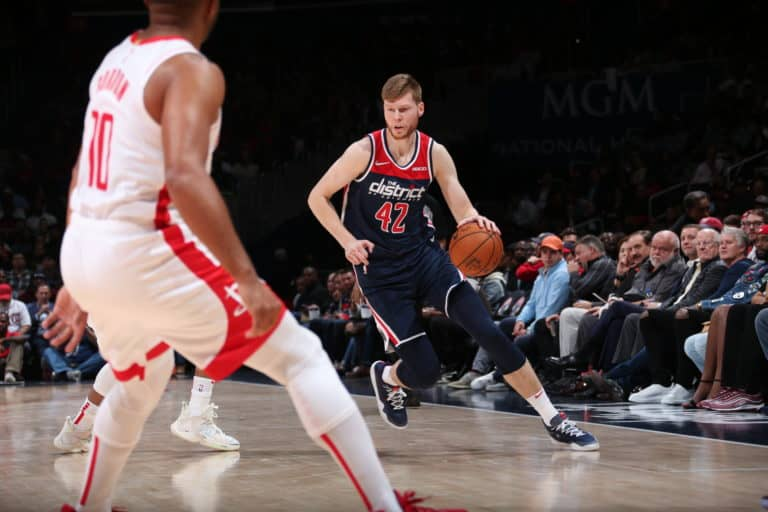 WASHINGTON, DC - OCTOBER 30: Davis Bertans #42 of the Washington Wizards handles the ball against the Houston Rockets on October 30, 2019 at Capital One Arena in Washington, DC. NOTE TO USER: User expressly acknowledges and agrees that, by downloading and or using this Photograph, user is consenting to the terms and conditions of the Getty Images License Agreement. Mandatory Copyright Notice: Copyright 2019 NBAE (Photo by Ned Dishman/NBAE via Getty Images)