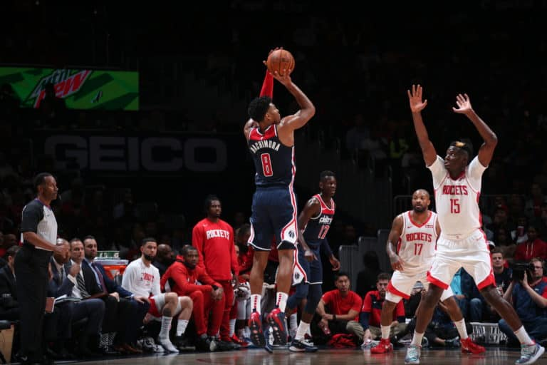 WASHINGTON, DC - OCTOBER 30: Rui Hachimura #8 of the Washington Wizards shoots the ball against the Houston Rockets on October 30, 2019 at Capital One Arena in Washington, DC. NOTE TO USER: User expressly acknowledges and agrees that, by downloading and or using this Photograph, user is consenting to the terms and conditions of the Getty Images License Agreement. Mandatory Copyright Notice: Copyright 2019 NBAE (Photo by Ned Dishman/NBAE via Getty Images)