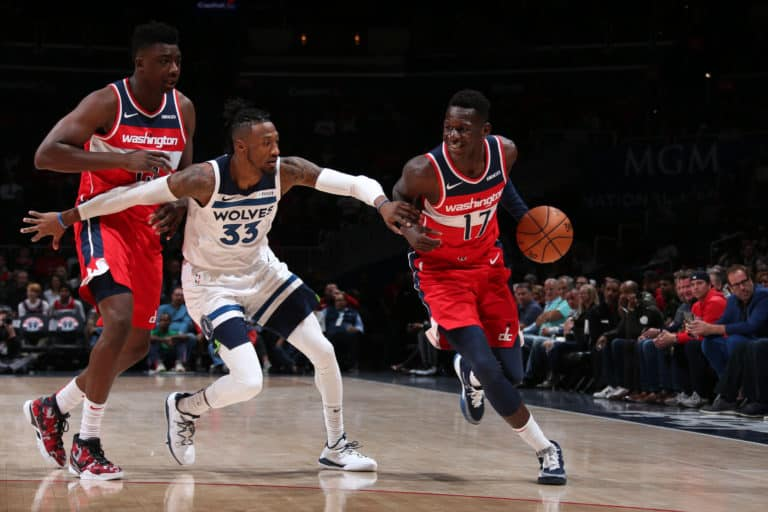 WASHINGTON, DC - NOVEMBER 2: Isaac Bonga #17 of the Washington Wizards handles the ball against the Minnesota Timberwolves on November 2, 2019 at Capital One Arena in Washington, DC. NOTE TO USER: User expressly acknowledges and agrees that, by downloading and or using this Photograph, user is consenting to the terms and conditions of the Getty Images License Agreement. Mandatory Copyright Notice: Copyright 2019 NBAE (Photo by Ned Dishman/NBAE via Getty Images)