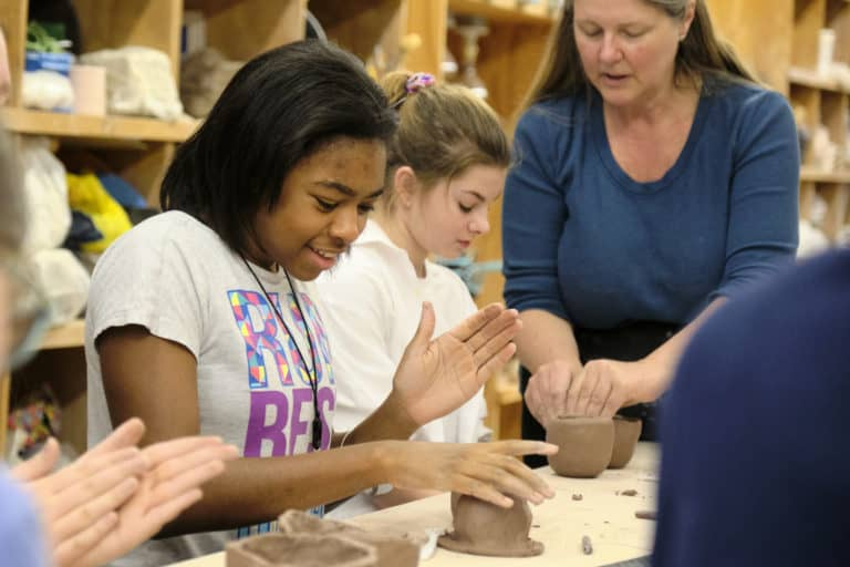 Girl Scouts Creating - Credit Mark Tenally - Workhouse Clay