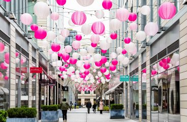 Pink Lanterns at CityCenterDC on Thursday, March 12, 2020 in Washington. (Joy Asico / MPA)